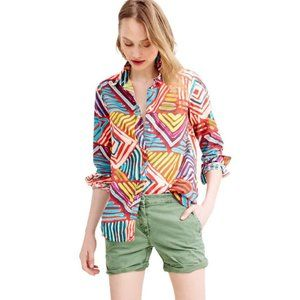 J Crew The Boy Brushstroke Loose Fit Button Up